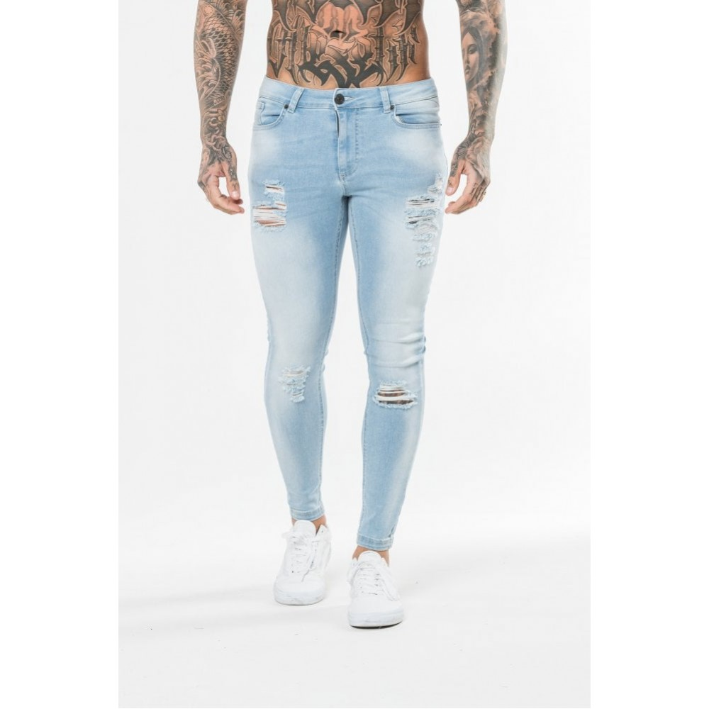11 Degrees Distressed Jeans Skinny Fit - Stone