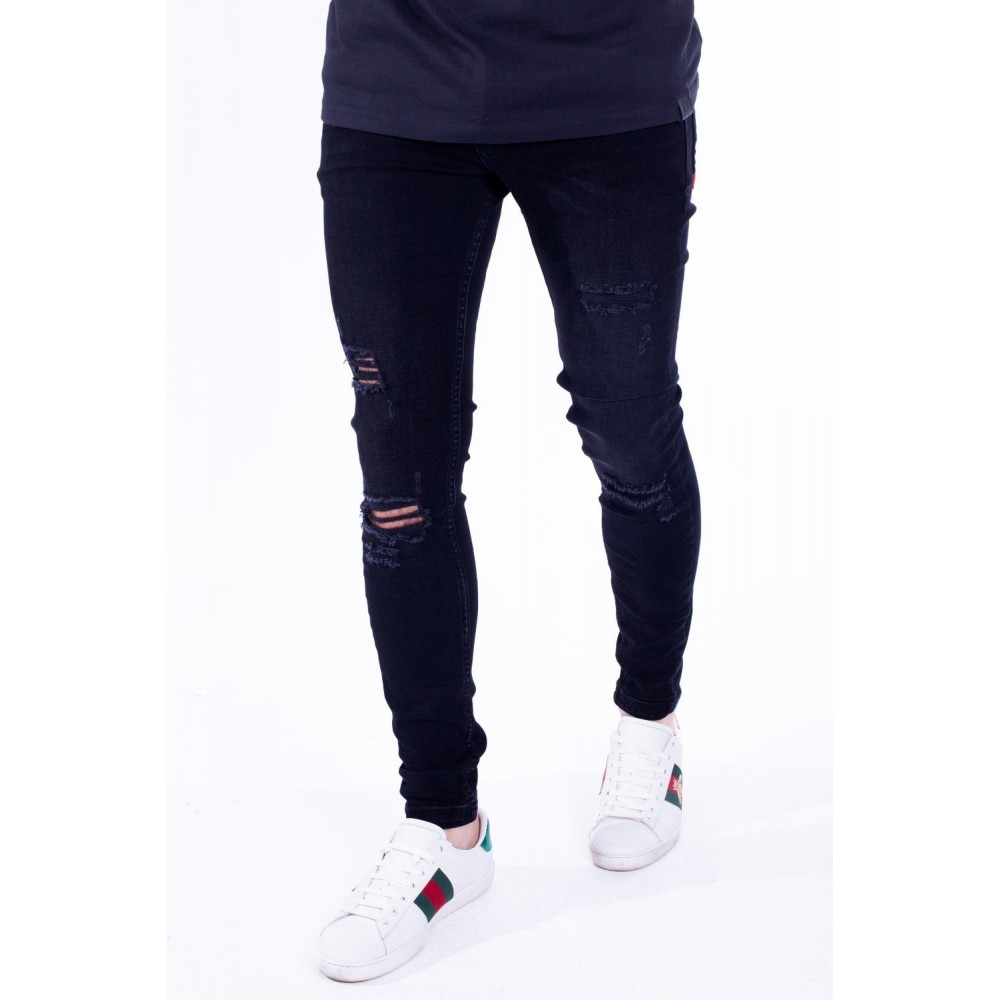 11 Degrees Distressed Jeans Skinny Fit - Jet Black Wash