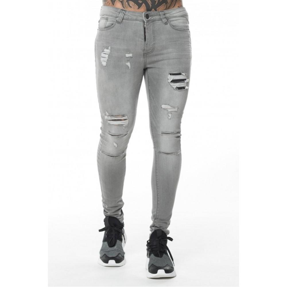 11 Degrees Rip Repair Jeans Skinny Fit - Charcoal Grey