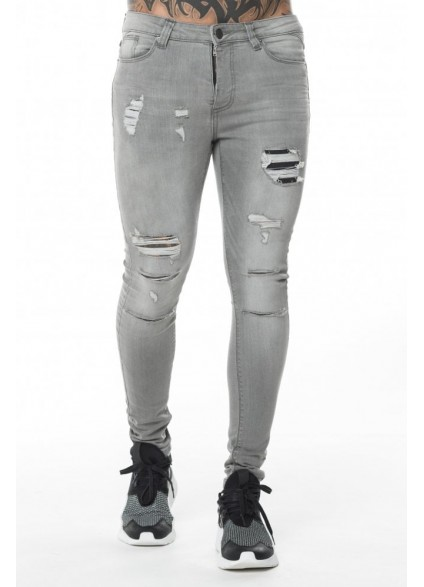 11 Degrees Rip Repair Jeans Skinny Fit - Charcoal Grey