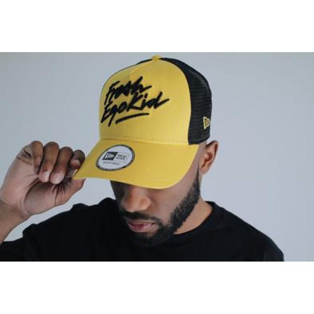 Fresh Ego Kid x New Era Script Logo Mesh Cap - Yellow / Black