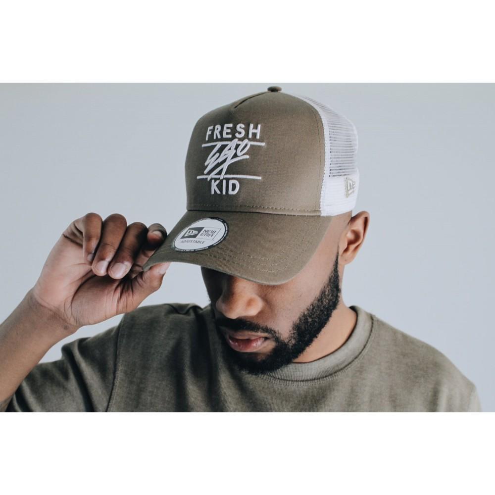 Fresh Ego Kid x New Era Mesh Trucker Cap - Khaki / White
