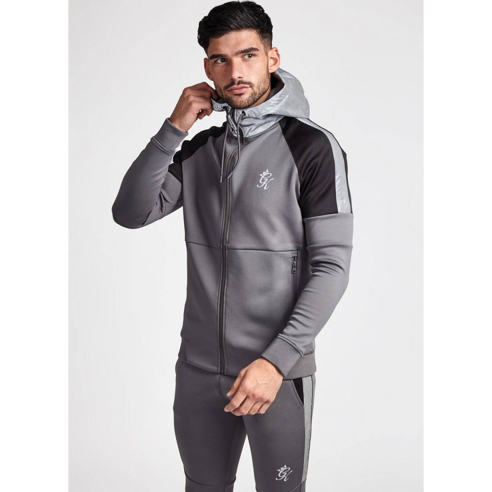 Gym King Contrast Core Plus Dark Grey & Camo Poly Track Top