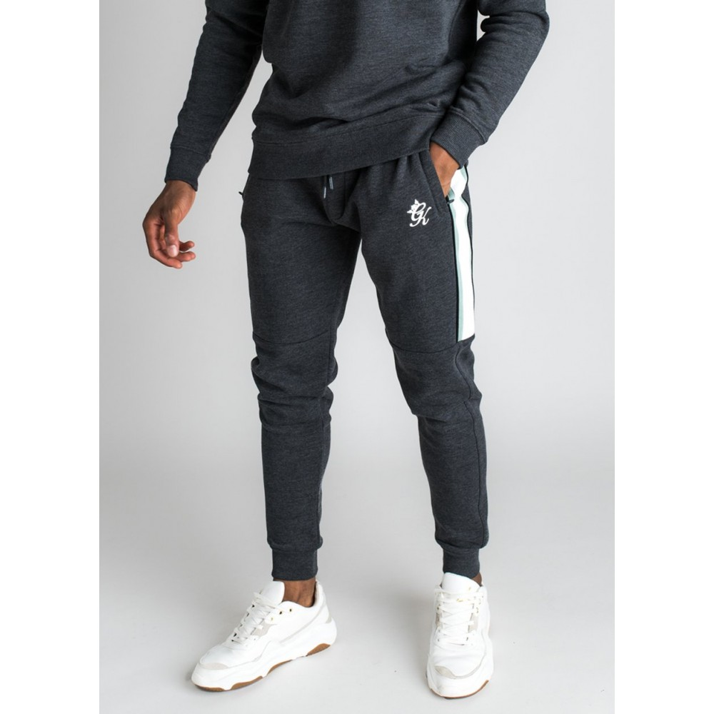 Gym King Crea Tracksuit Bottom Charcoal Marl/Green Mint/White