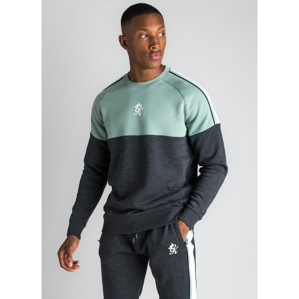 Gym King Crea Sweatshirt - Charcoal Marl/Green Mist/White