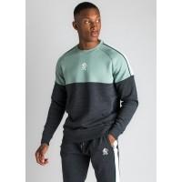 Gym King Crea Sweatshirt - Charcoal Marl/Green Mist/White