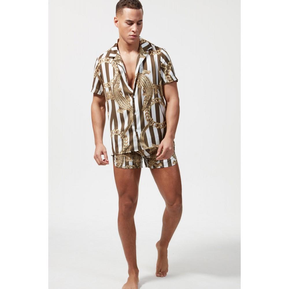 Hermano All Khaki Croc S/S Cuban Shirt