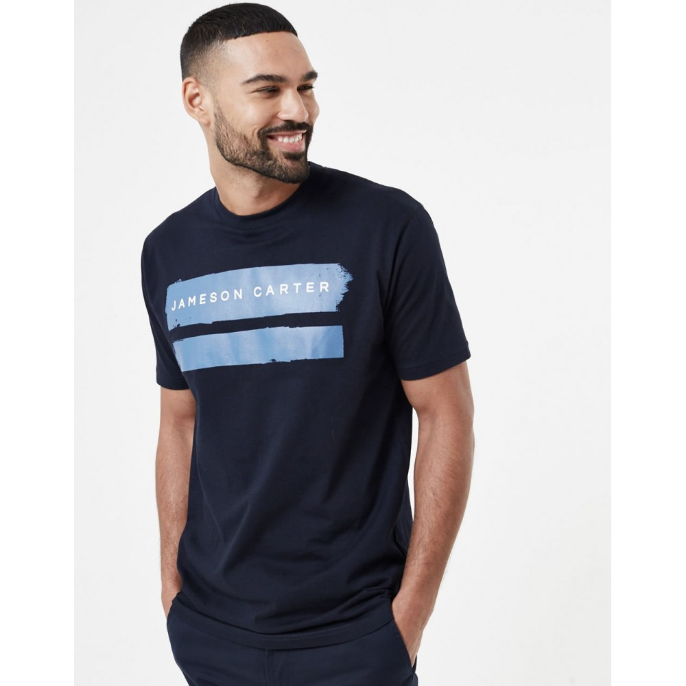 Jameson Carter Paint Stripe T-Shirt - Navy & Blue