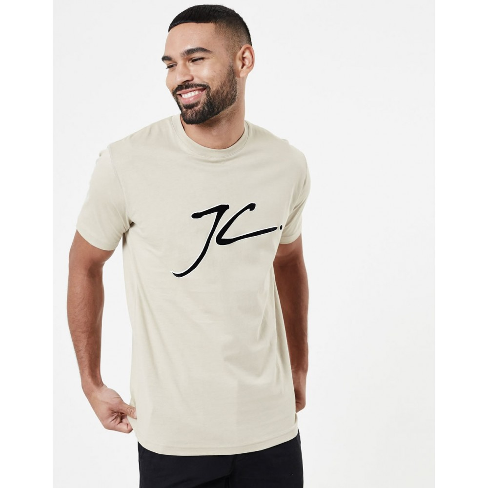 Jameson Carter JC Velour Flock T-Shirt - Stone