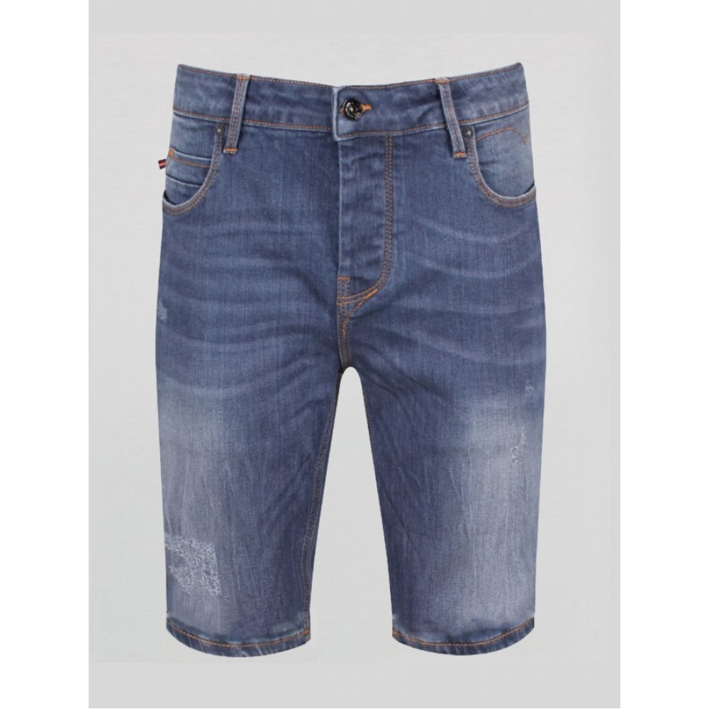 Luke 1977 Nimed Blue Grey Denim Shorts