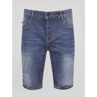 Luke 1977 Nimed Blue Grey Denim Shorts