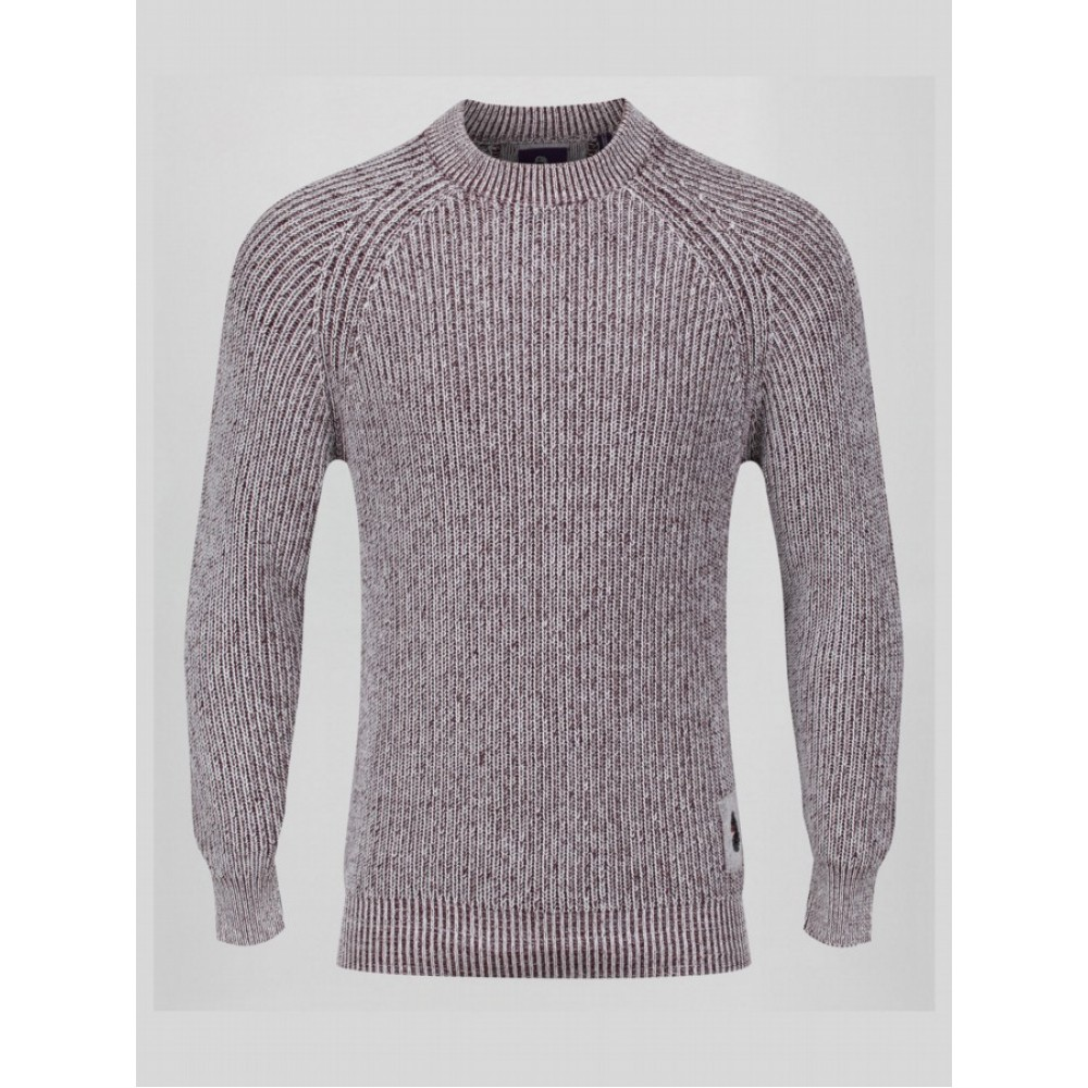 Luke 1977 Plated Crew Neck Jumper - marl wine