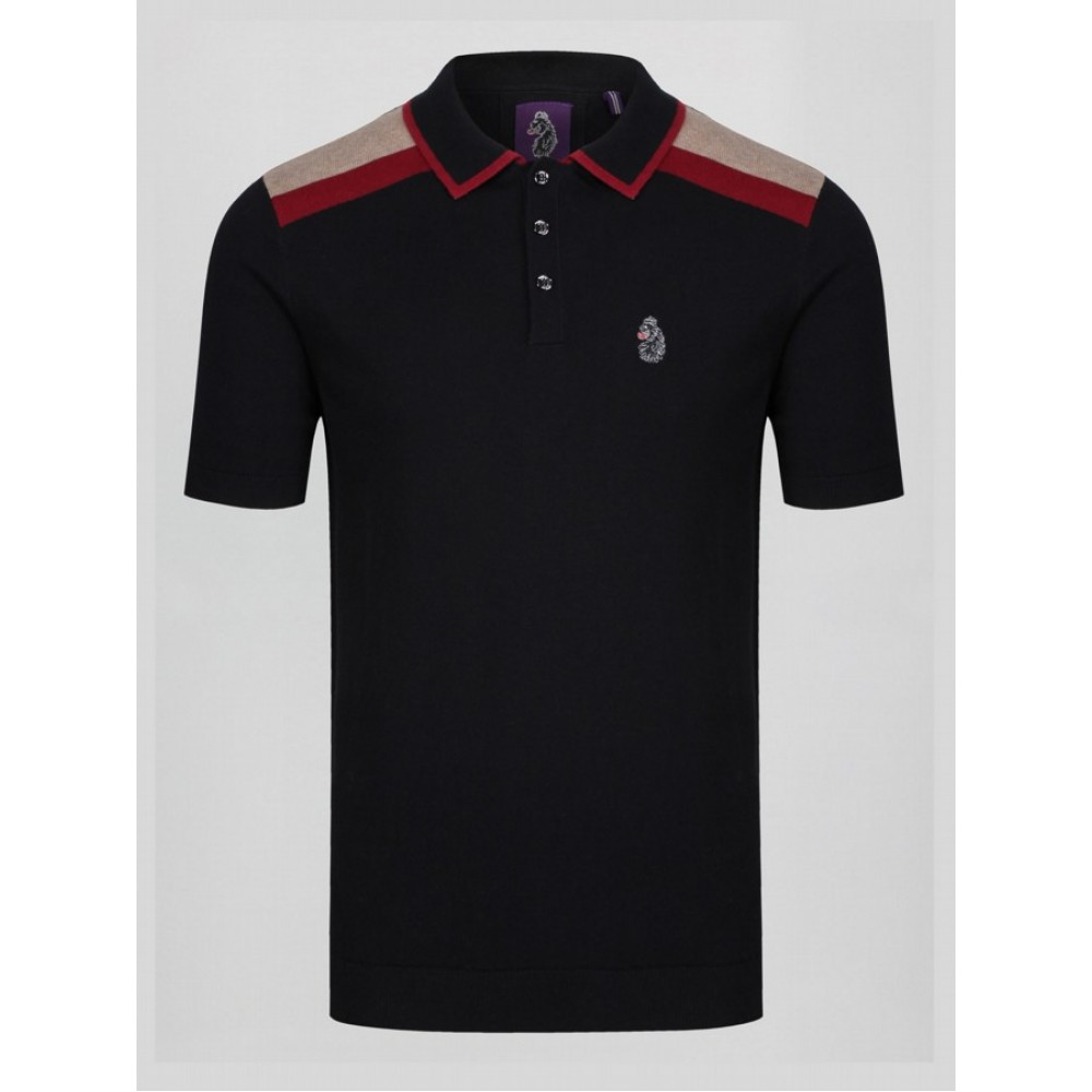 Luke 1977 Town Crier Knitted Polo Black