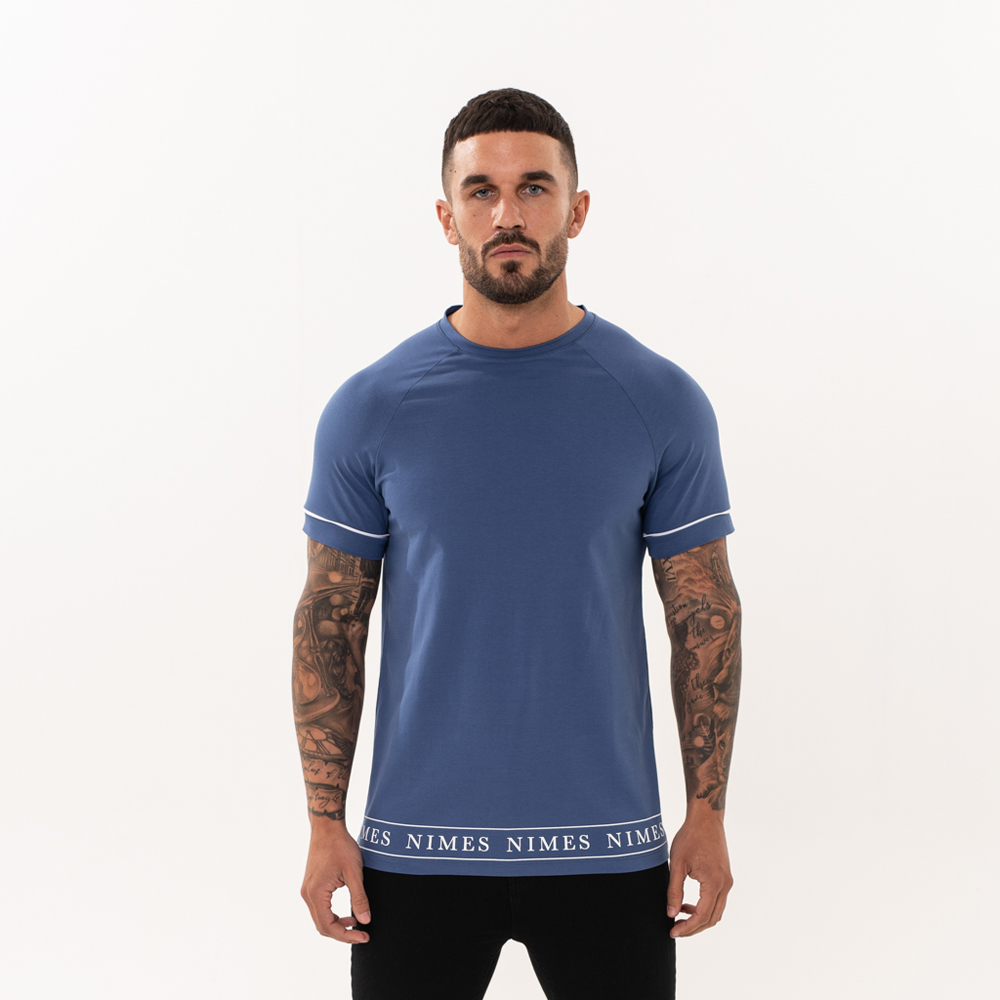 Nimes Branded Hem T-Shirt in Blue
