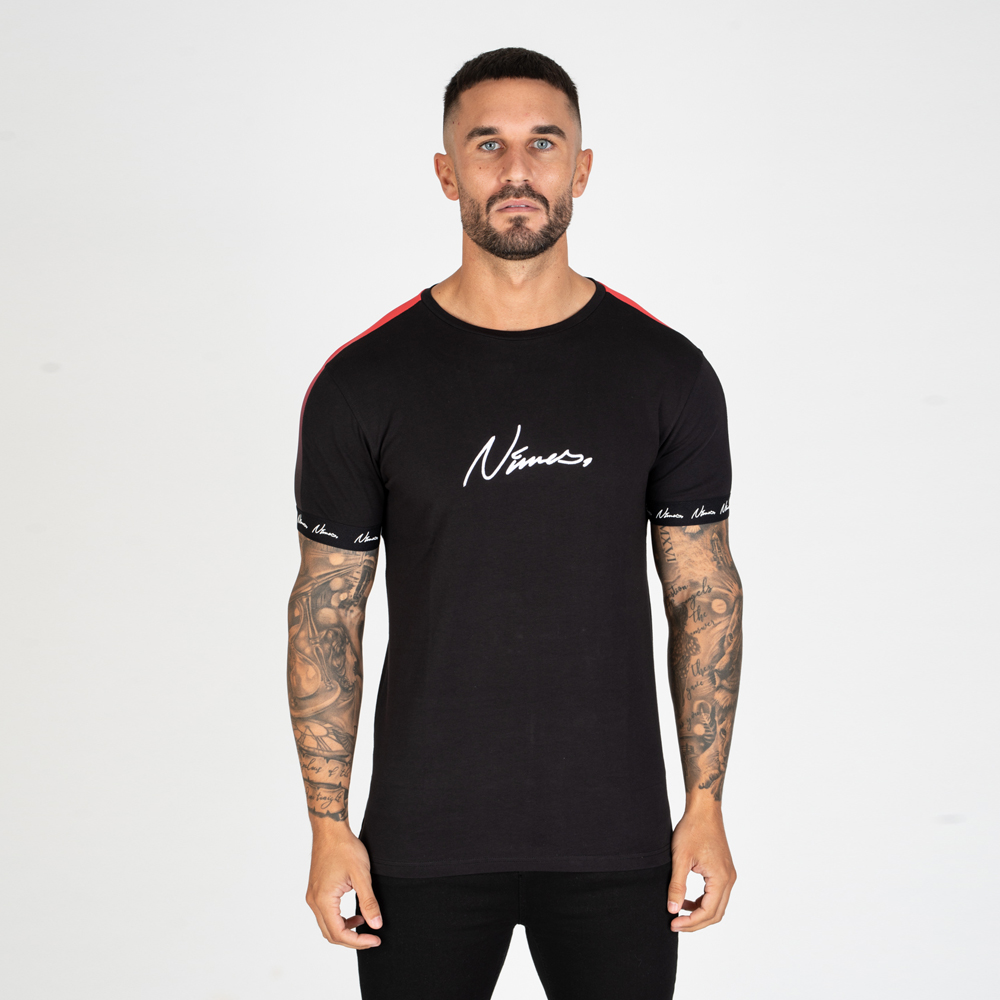 Nimes Faded Tape T-Shirt in Black