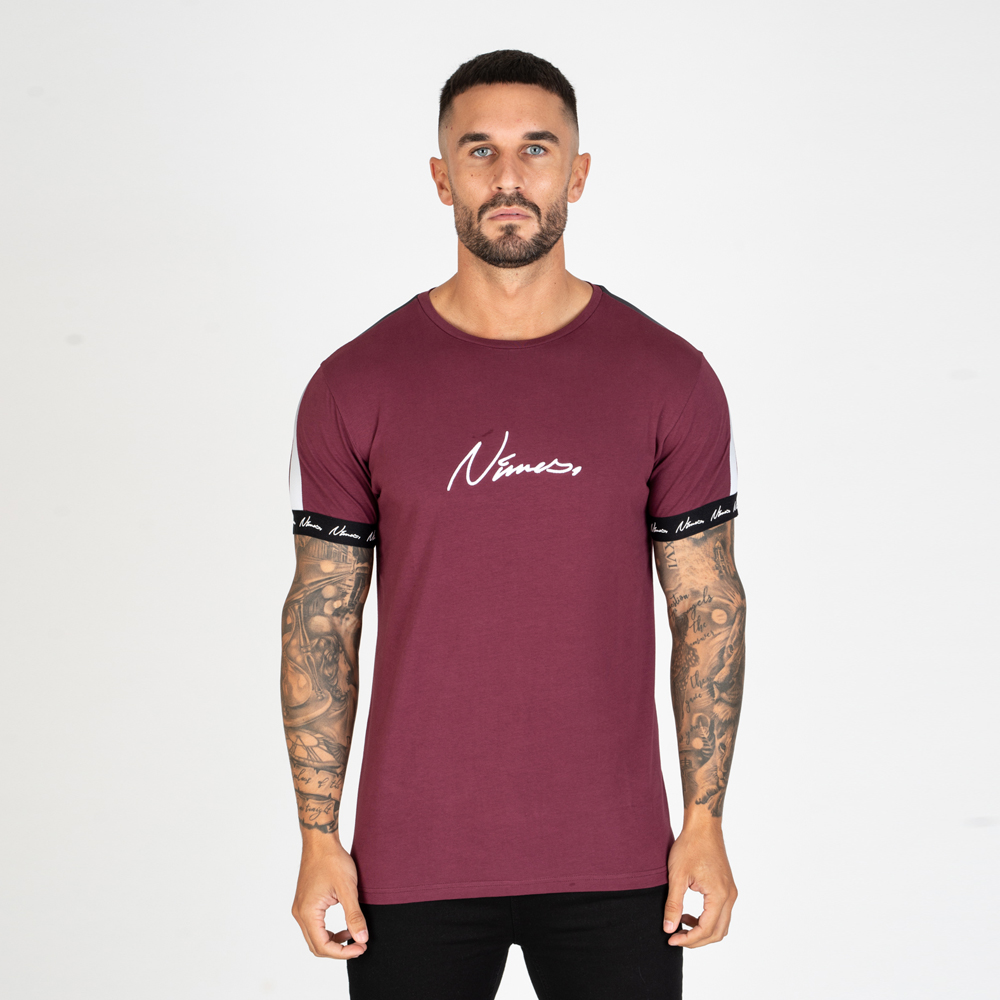 Nimes Faded Tape T-Shirt in Burgundy