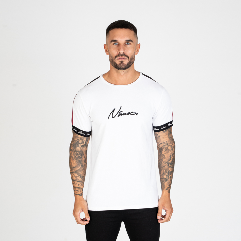 Nimes Faded Tape T-Shirt in White
