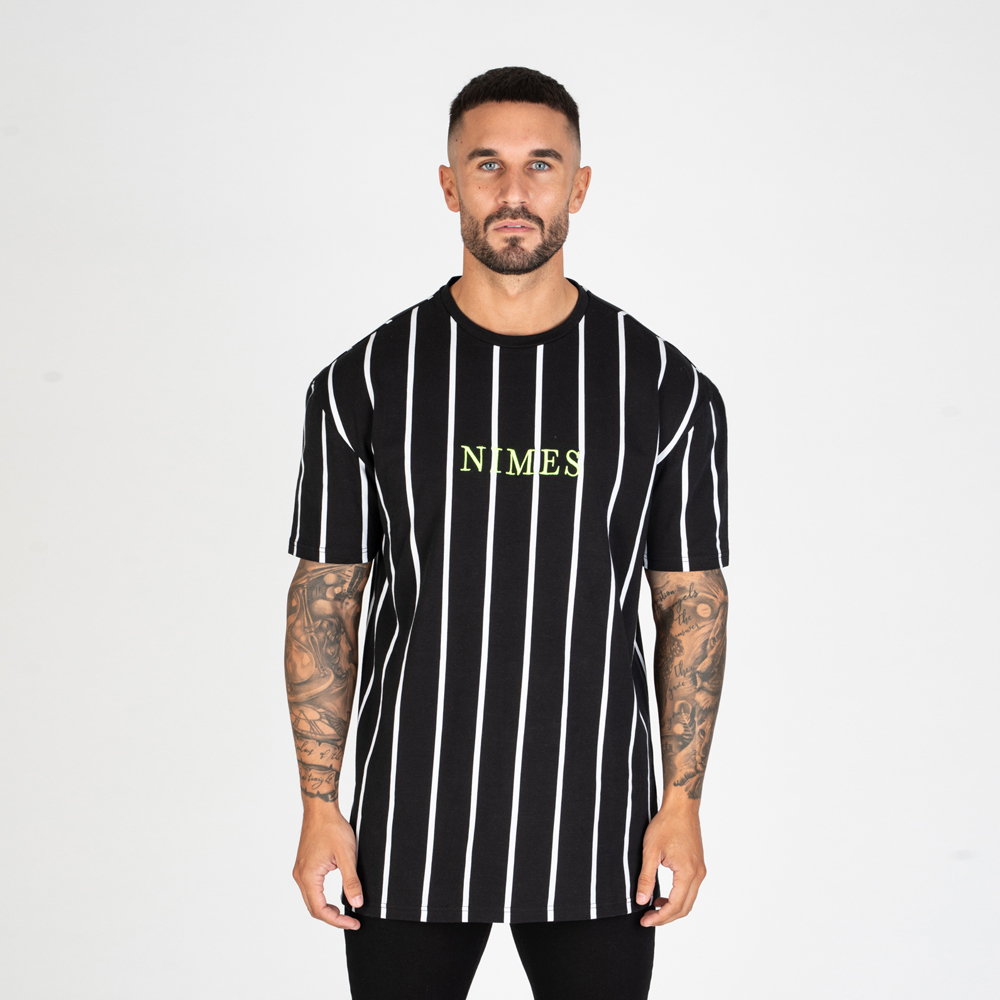 Nimes Oversized Stripe T-Shirt – Black