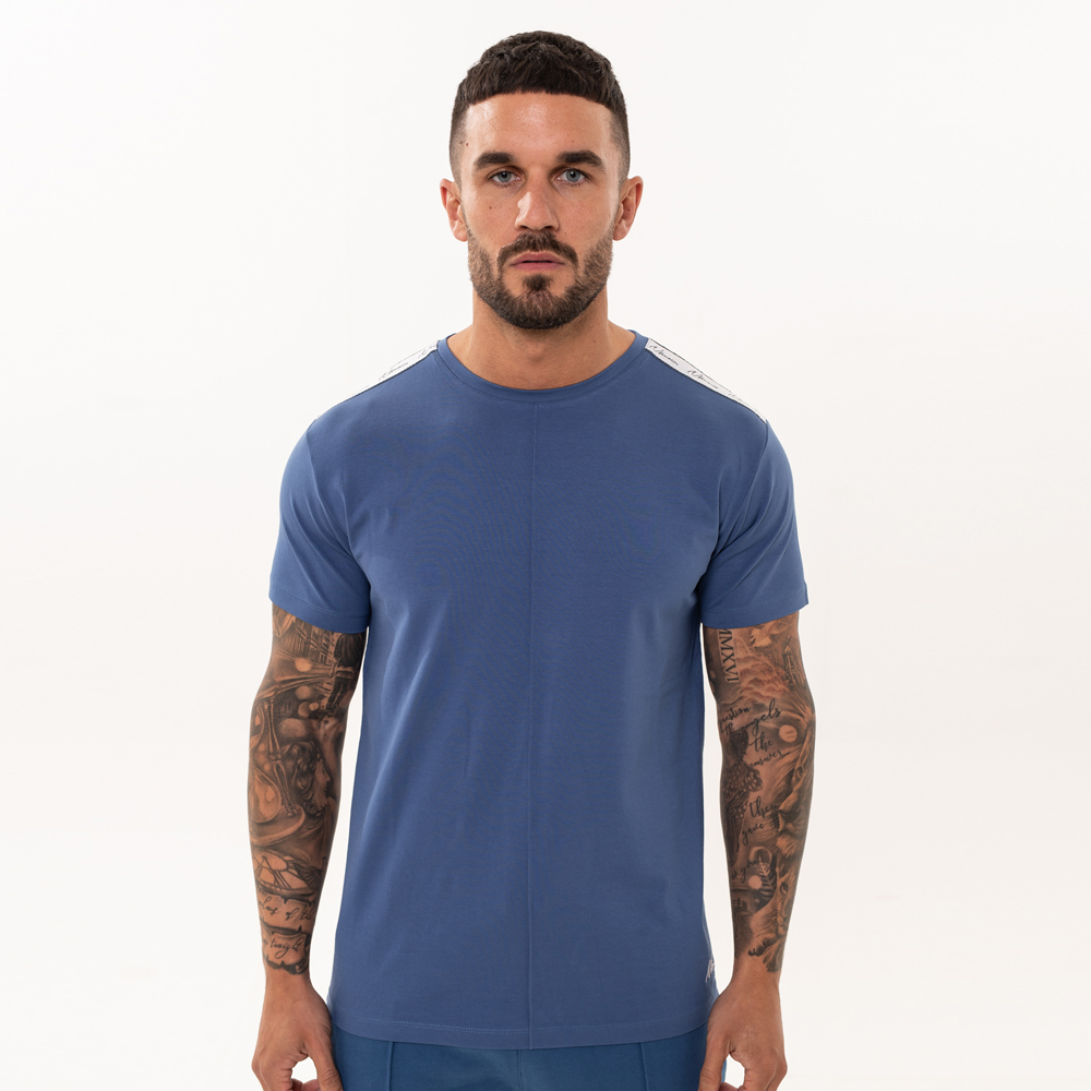 Nimes Signature Tape T-Shirt in Navy