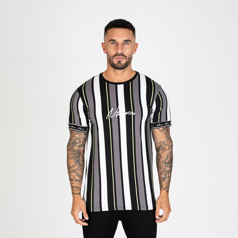 Nimes Stripe T-Shirt – Black/Neon