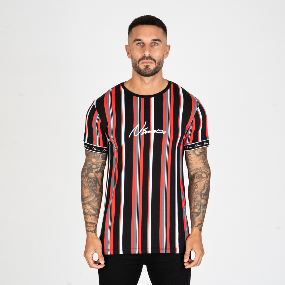 Nimes Stripe T-Shirt – Black/Red