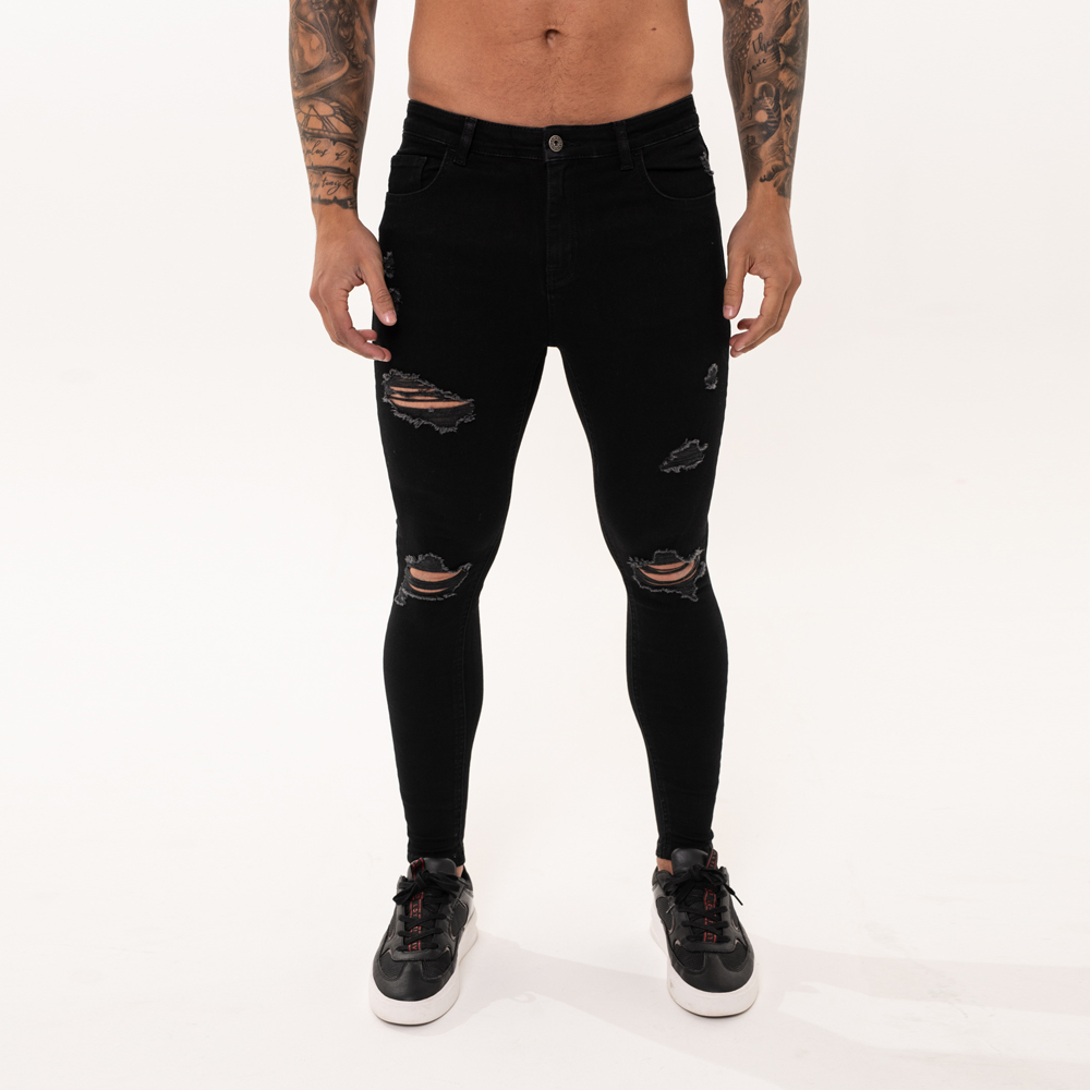 Nimes Super Skinny Spray on Jeans – Black Ripped & Repaired