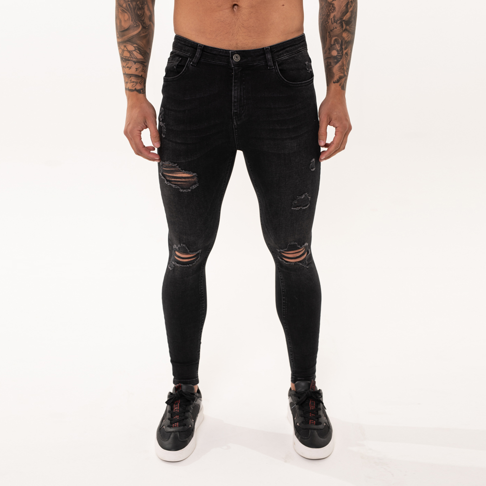 Nimes Super Skinny Spray on Jeans – Black Wash Ripped & Repaired