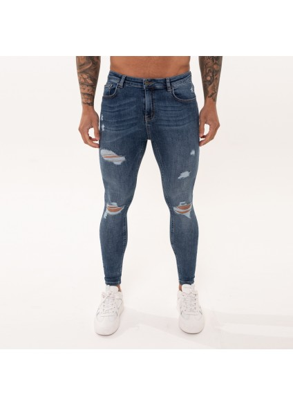 Nimes Super Skinny Spray on Jeans – Dark Blue Ripped & Repaired