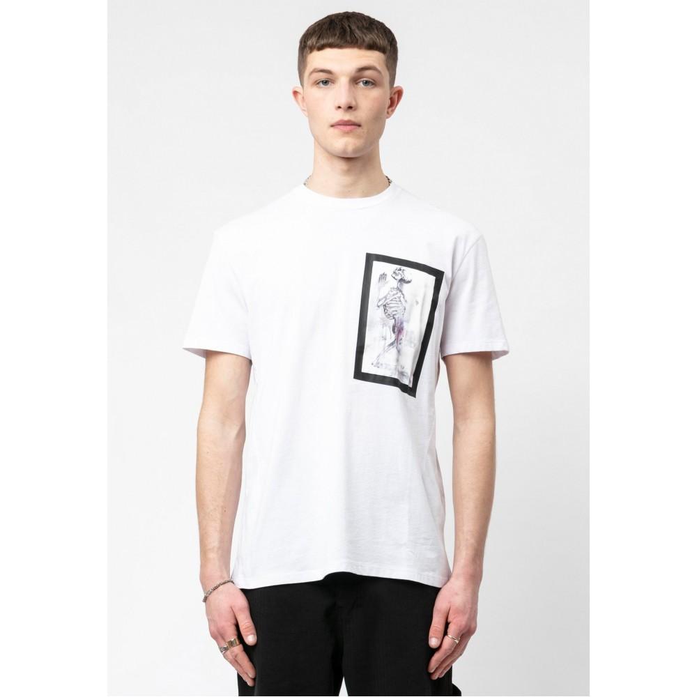 Religion Skeleton Paint Bondage White T-Shirt