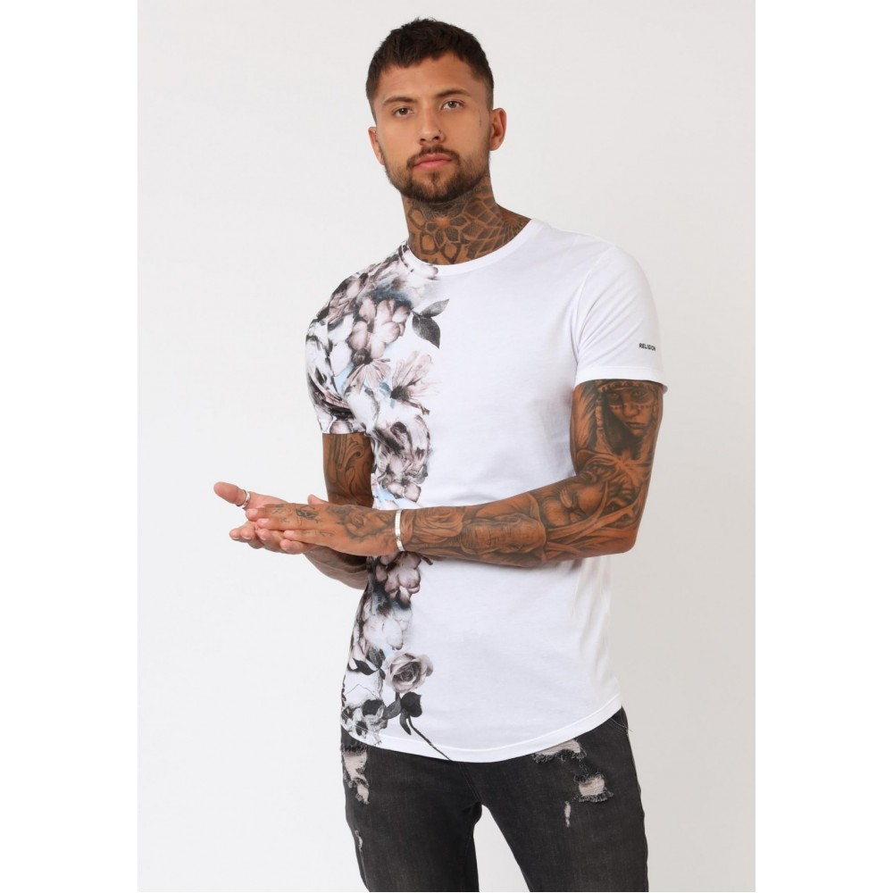 Religion Wild Floral White Curved Hem T-Shirt