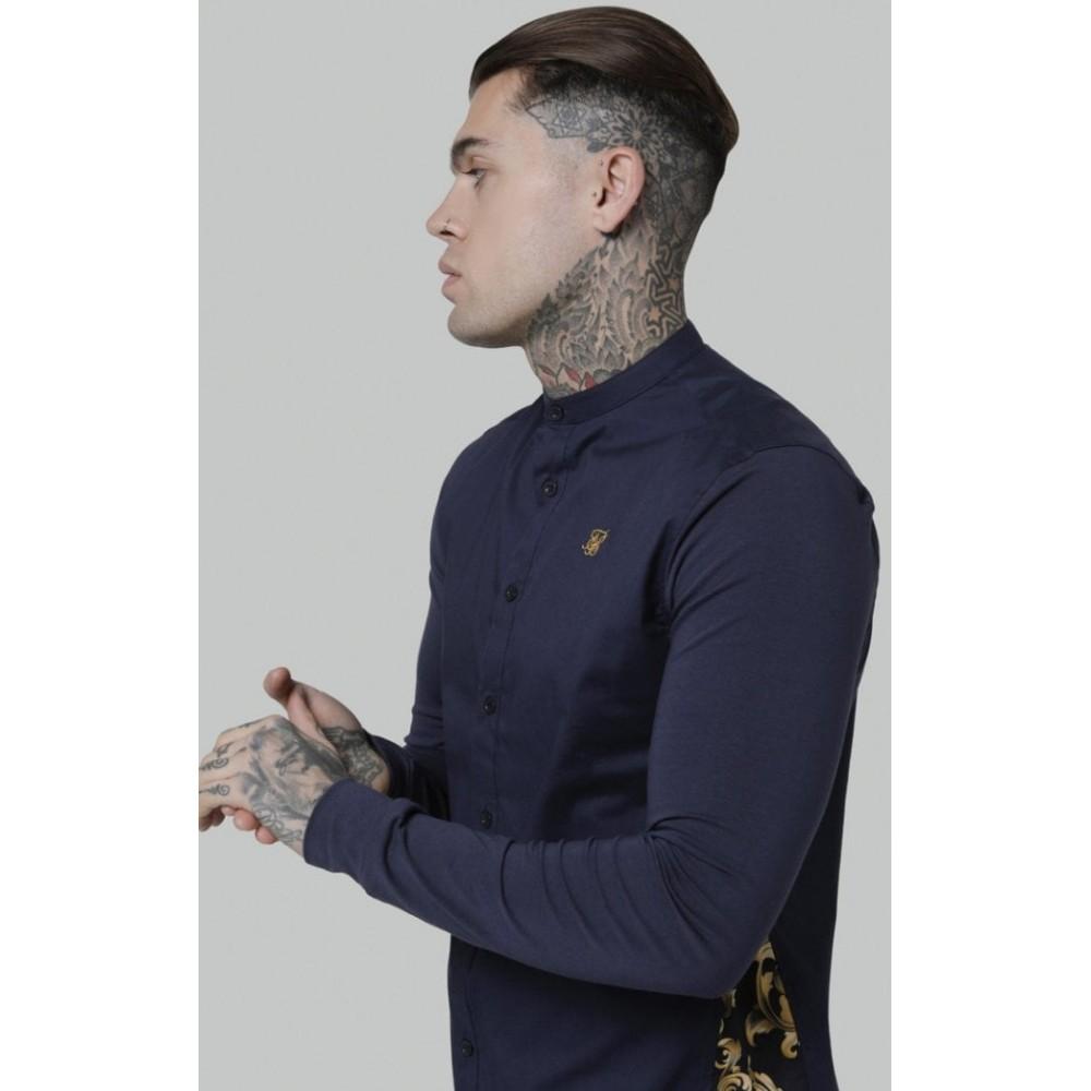 SikSilk L/S Royal Venetian Muscle Fit Side Shirt – Navy