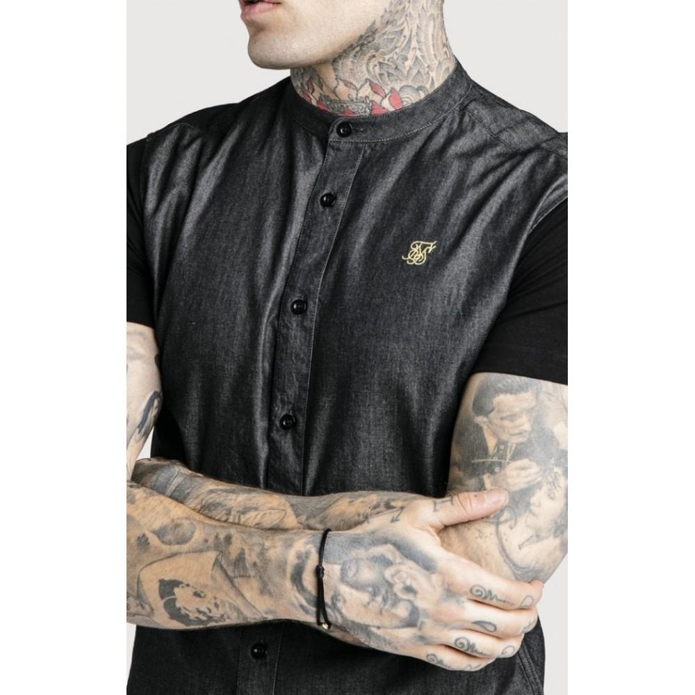 SikSilk S/S Grandad Collar Denim Shirt - Black & Gold