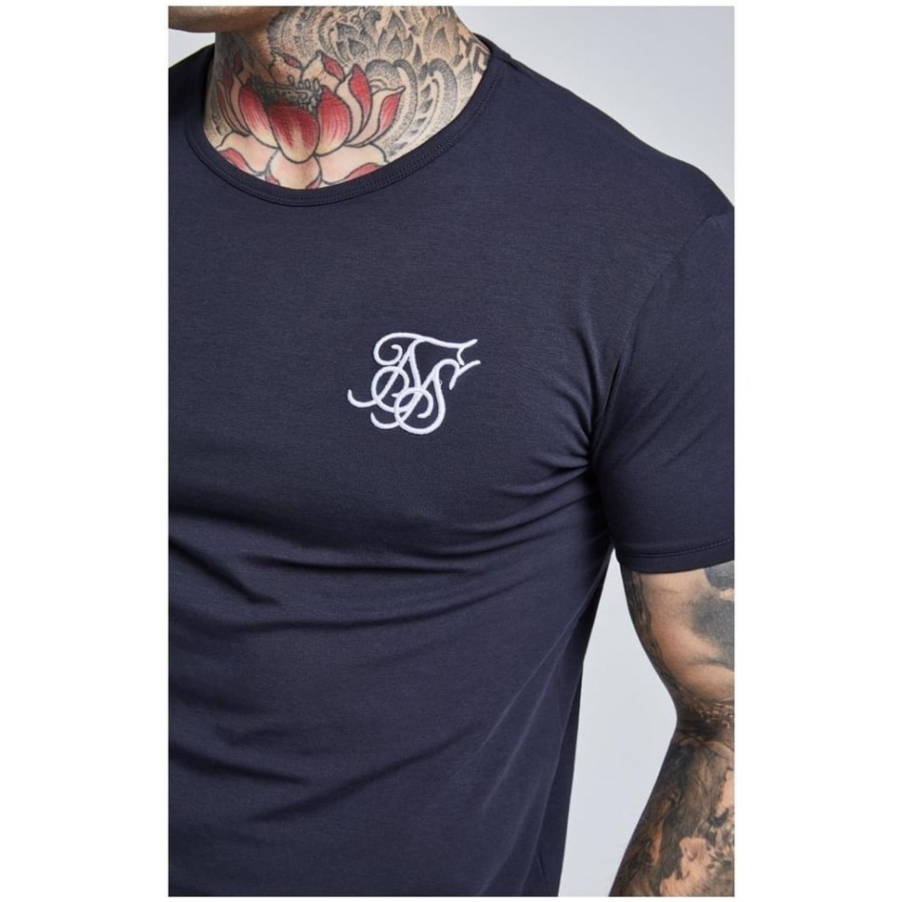 SikSilk S/S Core Gym Tee  – Navy Blue