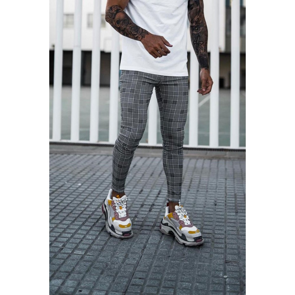 Sinners Attire Prince Of Wales Check Spray On Jeans