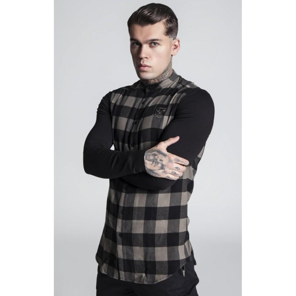 SikSilk Contrast Long Sleeve Tartan Shirt – Khaki