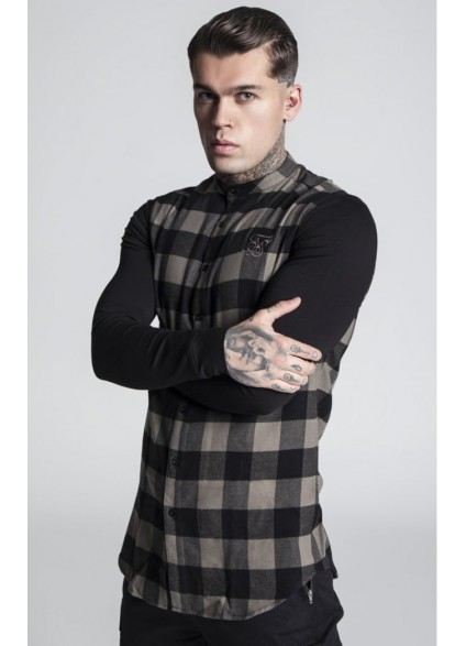 SikSilk Contrast Long Sleeve Tartan Shirt – Khaki