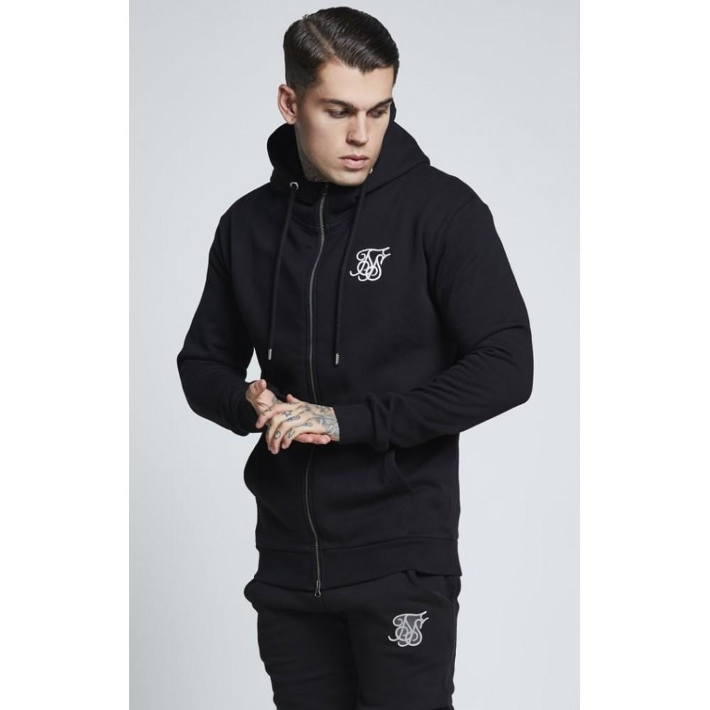 SikSilk Muscle Fit Zip Through Hoodie - Black
