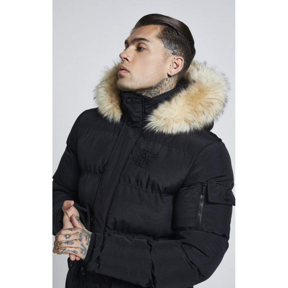 SikSilk Puff Parka Jacket – Black