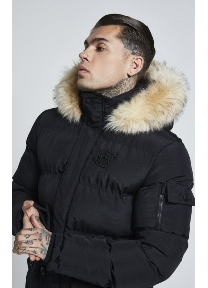 SikSilk Puff Parka Jacket – Black