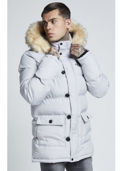 SikSilk Puff Parka Jacket – Grey