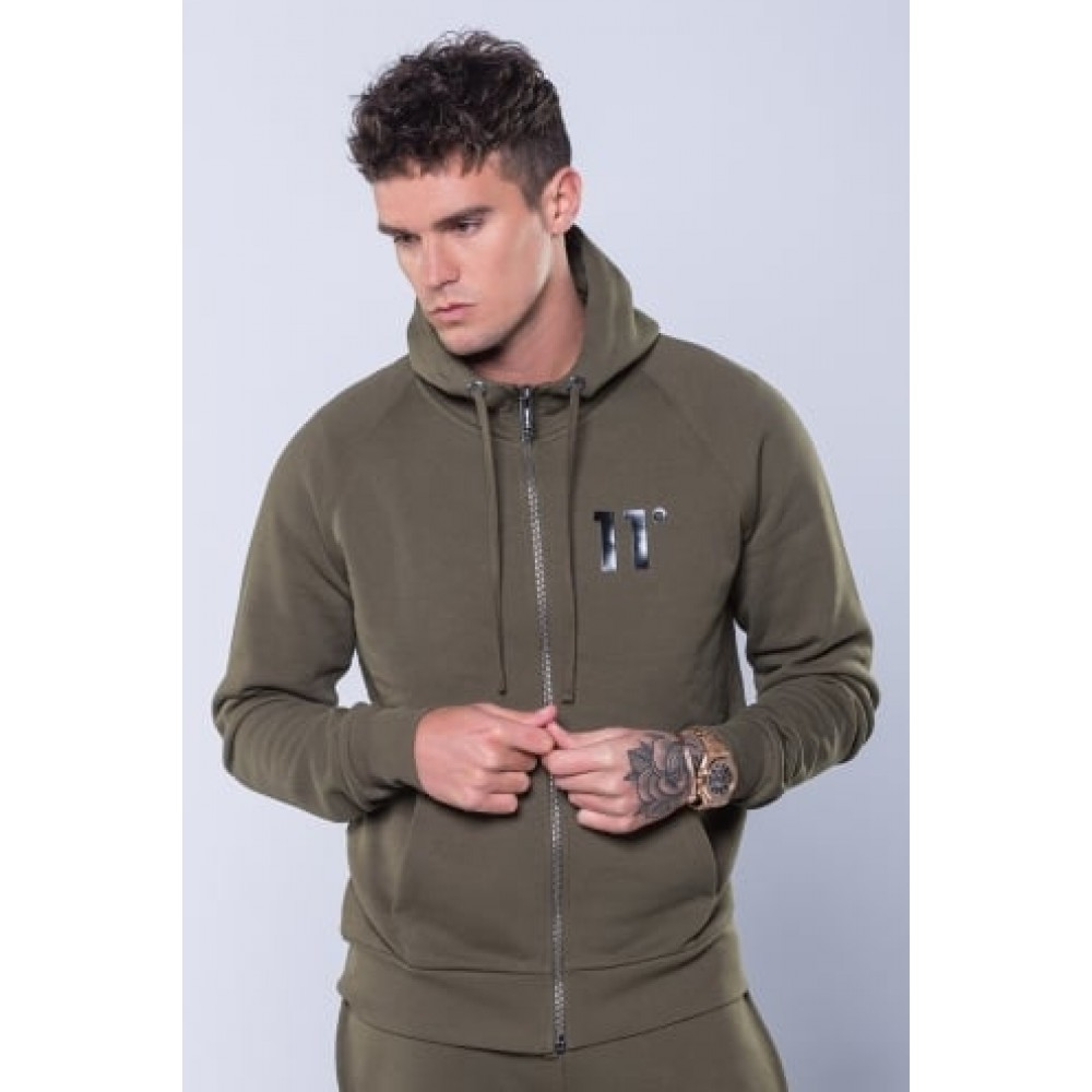 11 Degrees Core Zip Hoody - Khaki