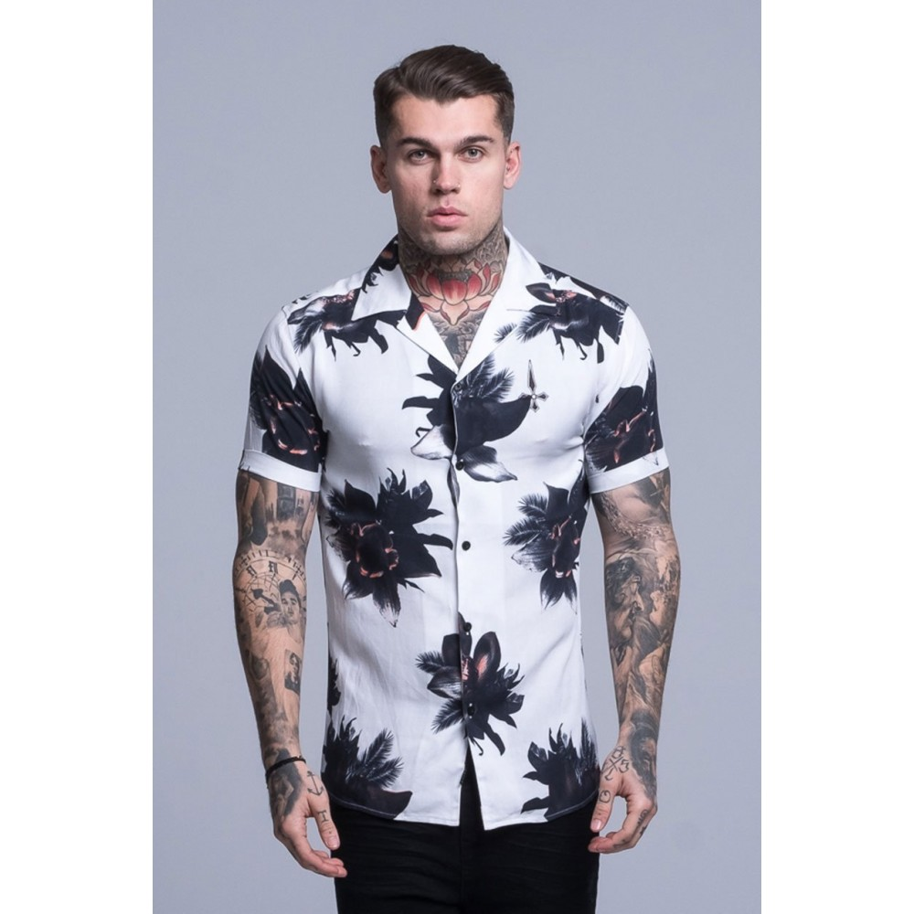Judas Sinned All Over Orchid Print Shirt