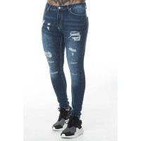 11 Degrees Ripped And Repaired Skinny Jeans - Mid Blue