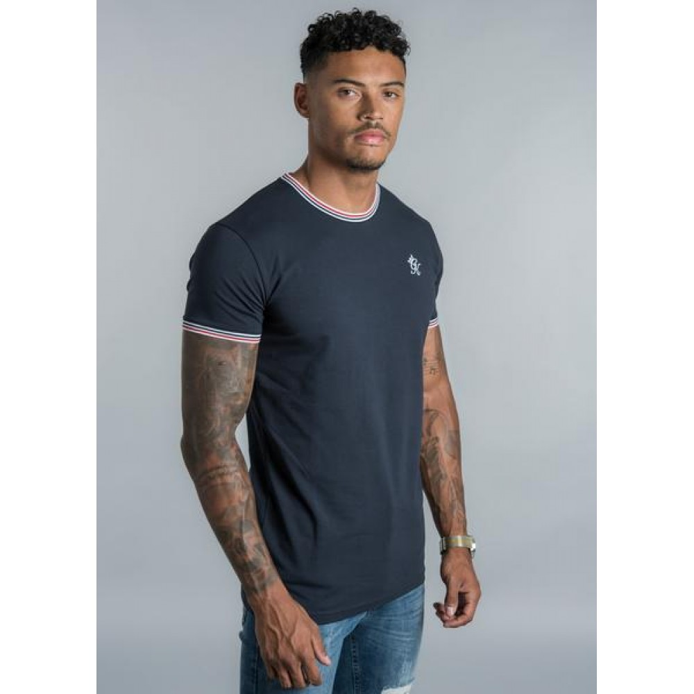 Gym King Signature Tipped T-Shirt - Navy/White/Red