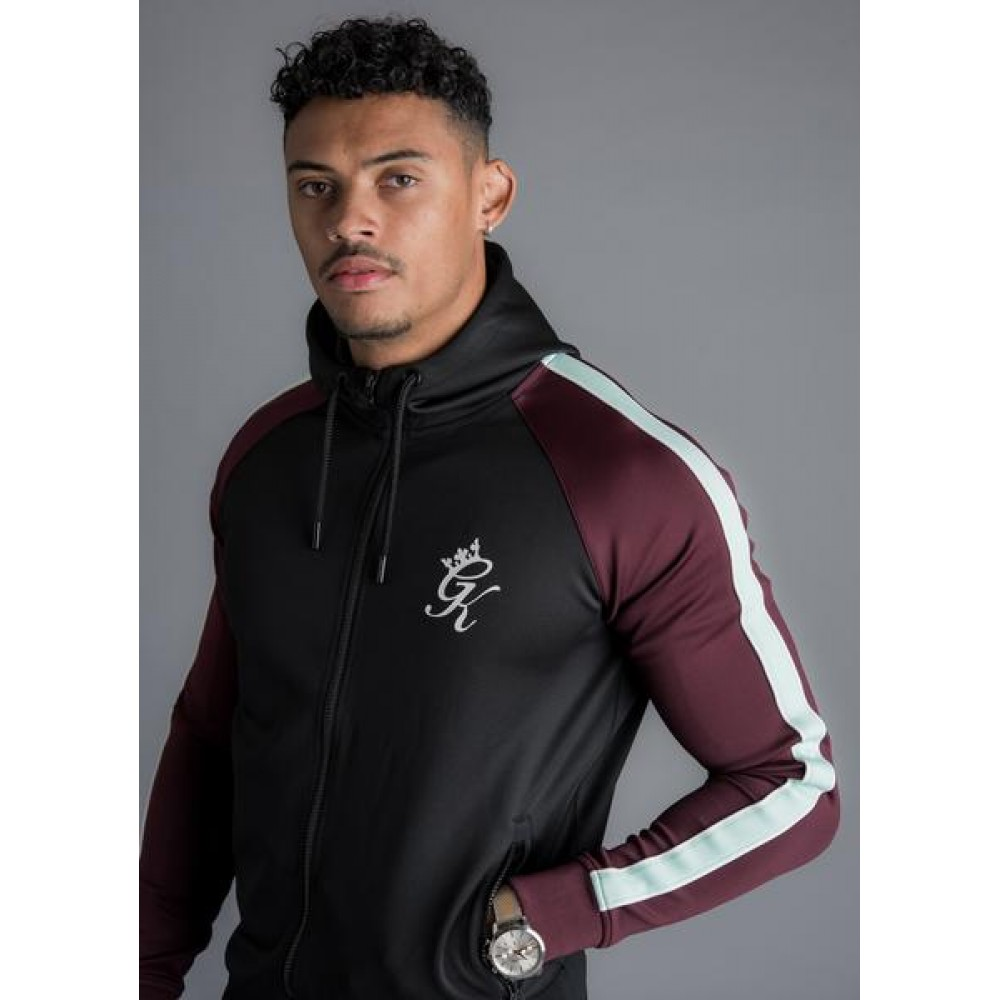 Gym King Contrast Poly Track Top - Blk/Wine/Eggshell