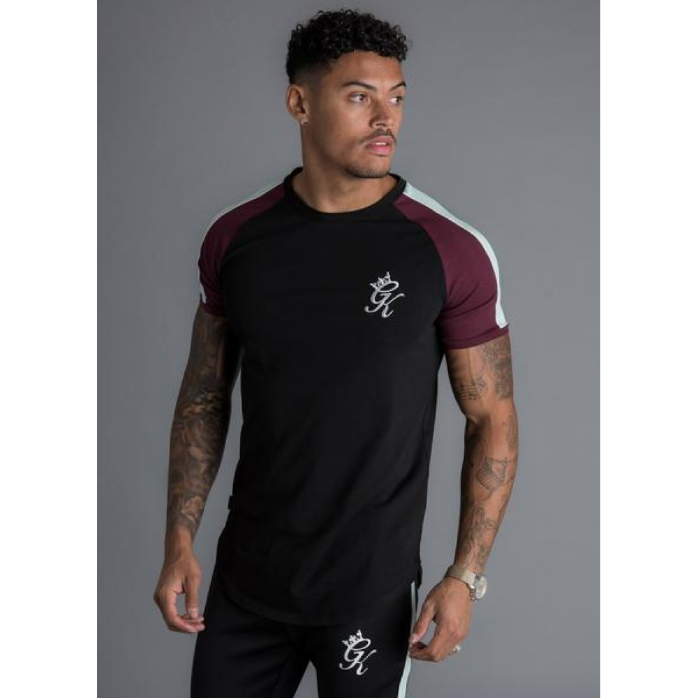 Gym King Contrast Piped T-Shirt - Black / Wine / Eggshell