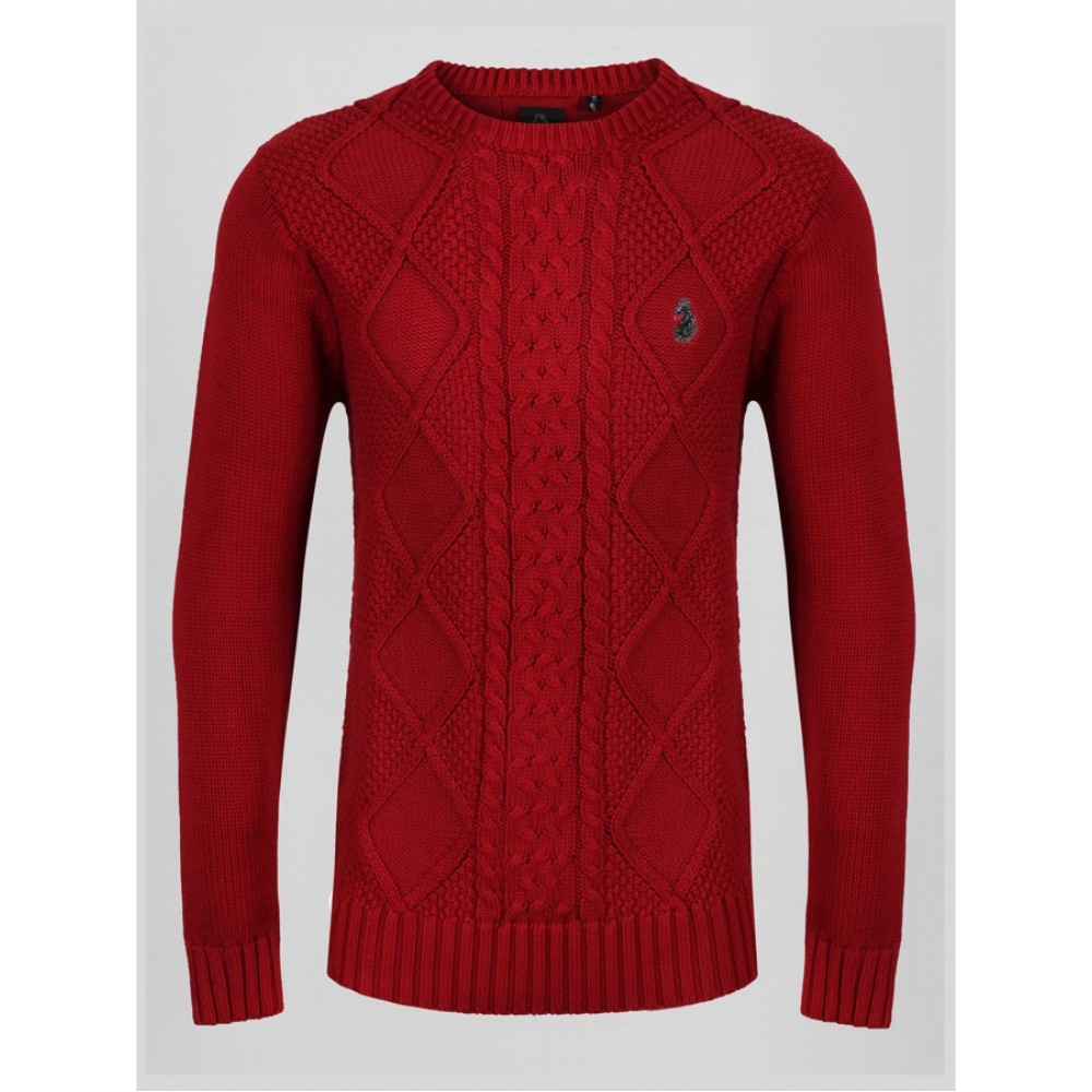 Luke 1977 Horton Court Knit Jumper - Dk Red