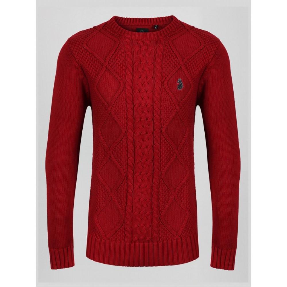 Luke 1977 Horton Court Knit Jumper - Dk Red