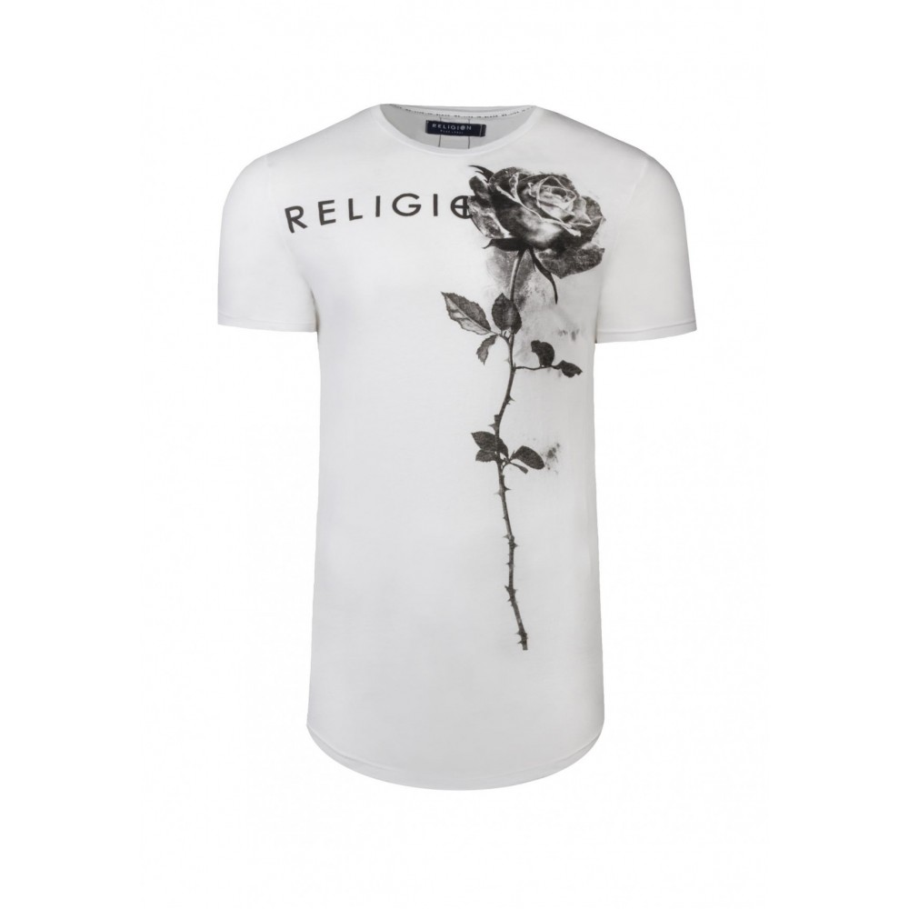 Religion Rose Curve Hem White T-Shirt