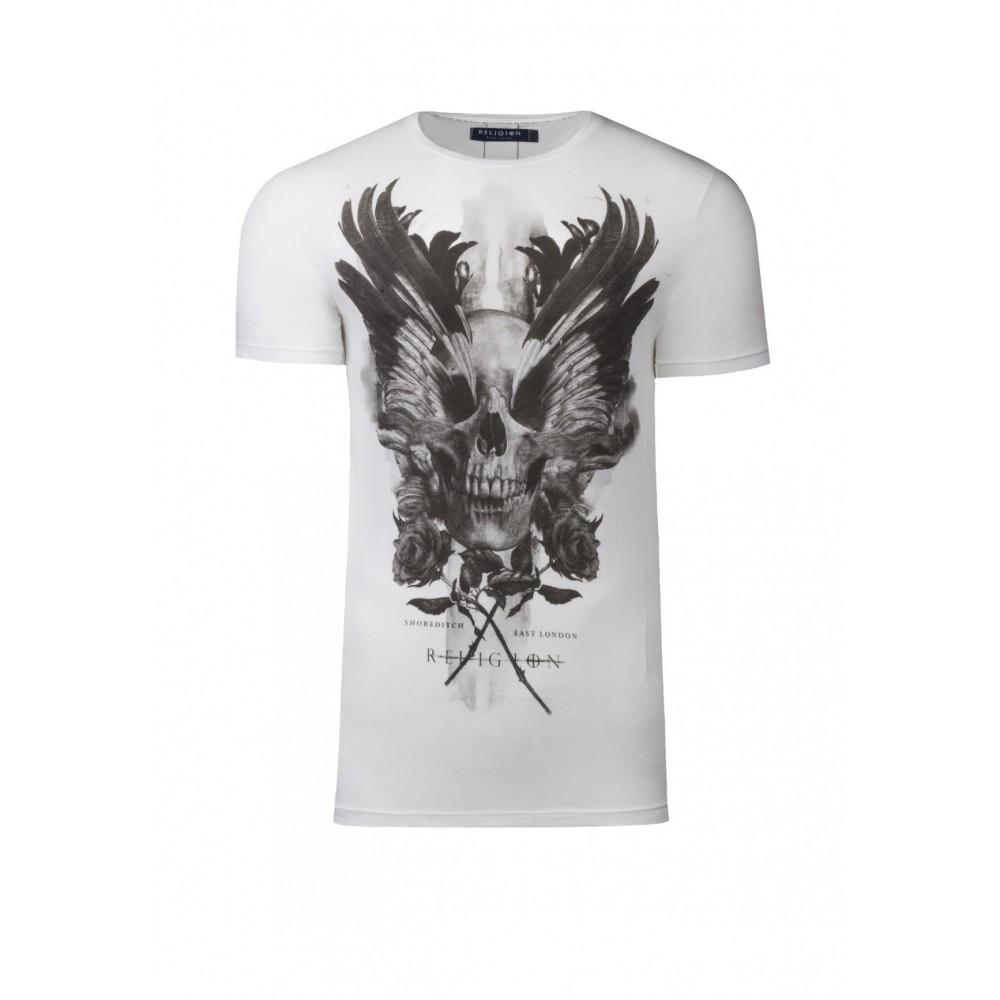 Religion Skull Wings White T-Shirt